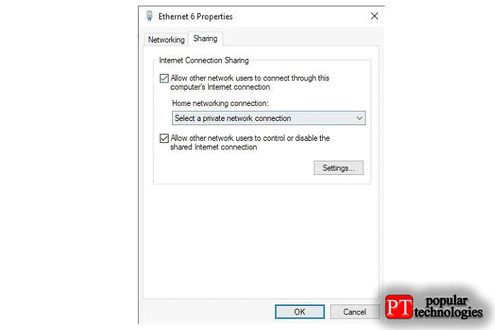 Откройте вкладку «Общий доступ» иубедитесь, что выбран параметр