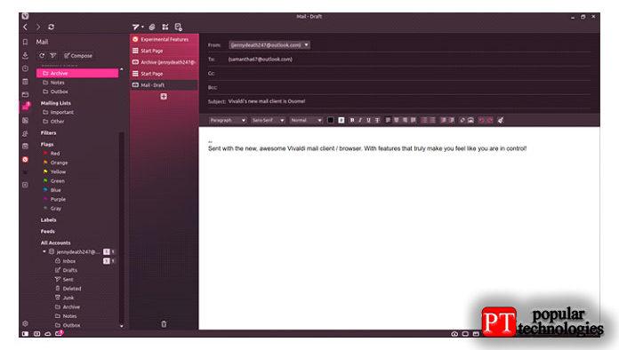 После этого мы активируем нашу электронную почту на Vivaldi