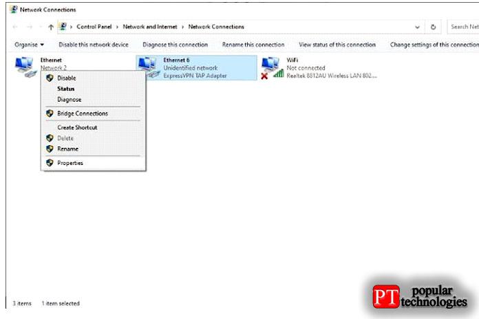 Щелкните правой кнопкой мыши свое VPN-соединение ивыберите