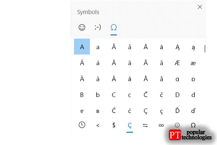 Теперь выувидите ряд популярных специальных символов