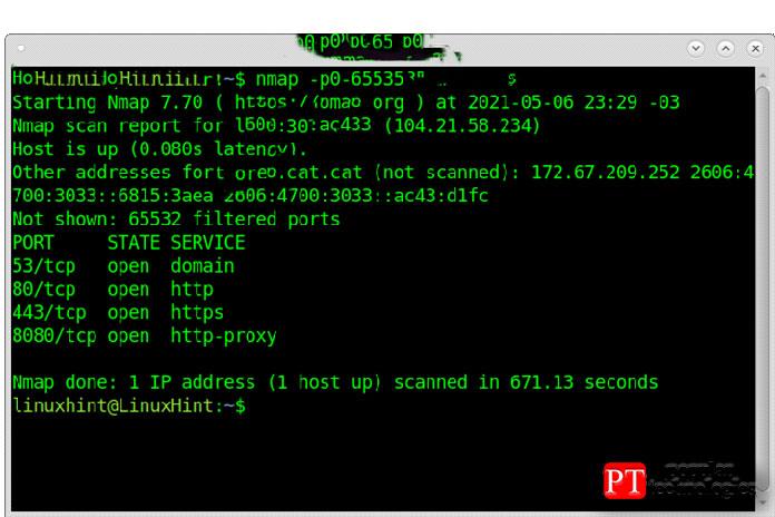Вэтом первом примере показано, как сканировать все порты спомощью Nmap