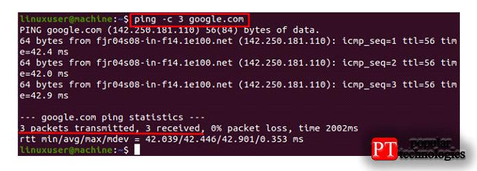Вкачестве примера мыпопытаемся отправить три интернет-пакета насервер Google