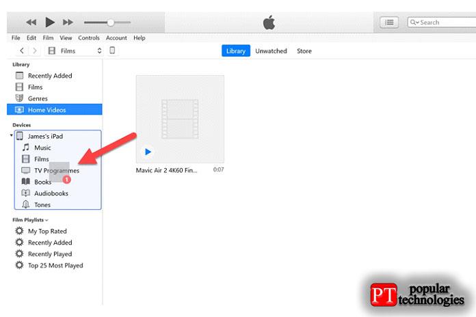 перетащив его изсписка насвой iPad, как показано ниже