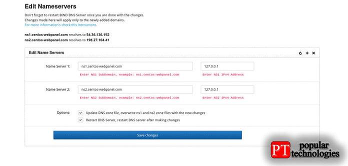Добавьте сервер имен 1исервер имен 2с ихIP-адресами инажмите кнопку Сохранить изменения
