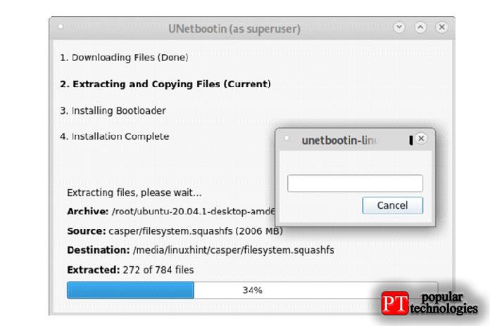 Копирование ISO наUSB-накопитель займет несколько минут