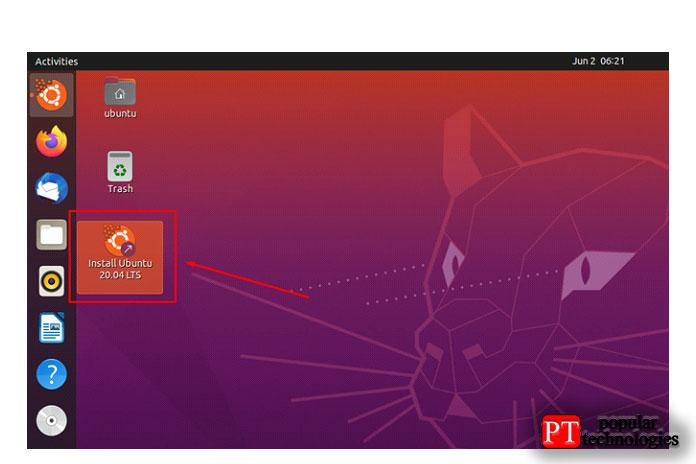 Начните установку операционной системы Ubuntu