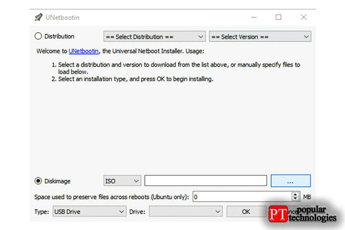 Откроется простой одностраничный пользовательский интерфейс Unetbootin