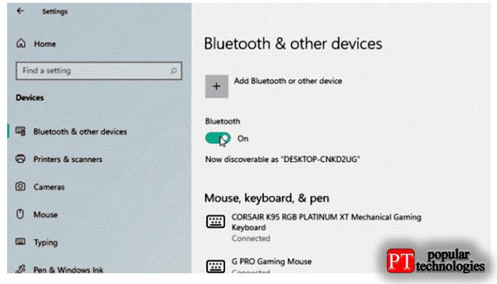 Перейдите навкладку «Bluetooth идругие устройства»