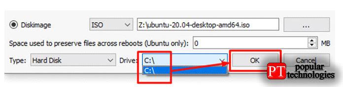 Поскольку мыхотим установить Ubuntu без USB, мывыберем тип жесткого диска