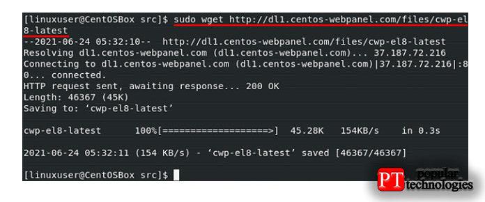 Теперь используйте команду wget для установки последней версии CWP