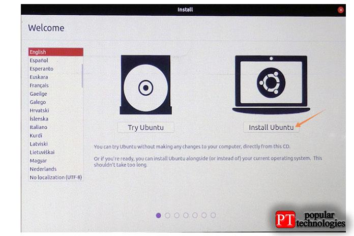 Теперь вокне установки выможете попробовать Ubuntu