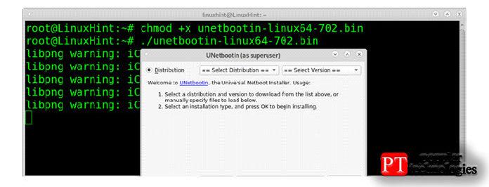 Затем запустите Unetbootin справами root
