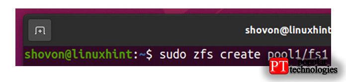 Чтобы создать новую файловую систему ZFS fs1в пуле pool1