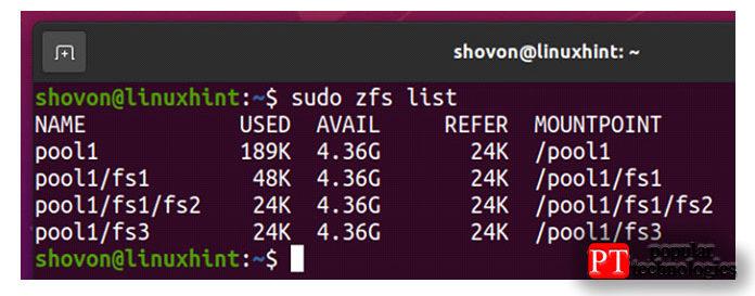 Файловая система fs3 должна быть создана впуле pool1