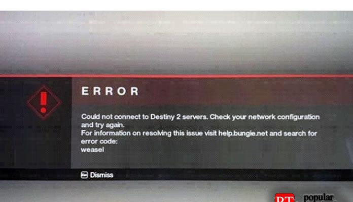 Исправить код ошибки Bungie Weasel для Destiny 2