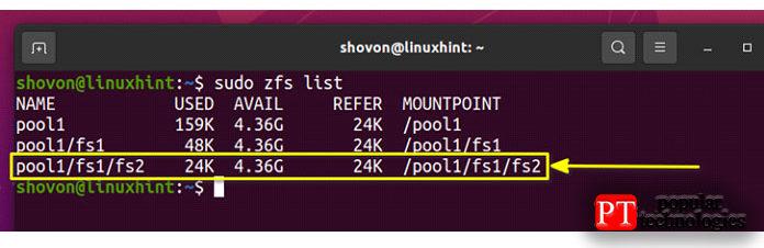 Как видите, файловая система fs2 вложена вфайловую систему pool1