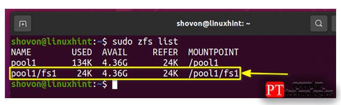 Как видите, создается новая файловая система ZFS pool1