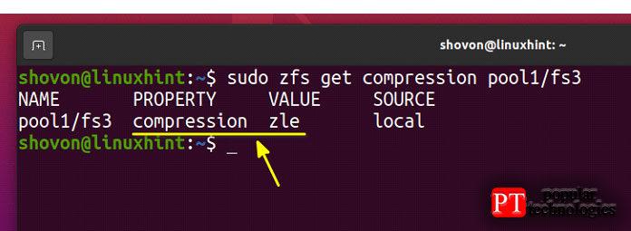 Как видите, сжатие zle включено вфайловой системе ZFS fs3