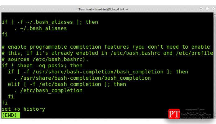 Как видите, внижней части файла.bashrc выувидите добавленное правило