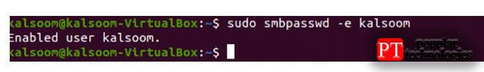 Linux вытакже можете включить пользователя, выполнив следующую