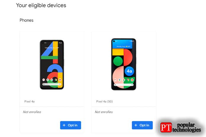 Накакие телефоны можно установить Android12 Beta4