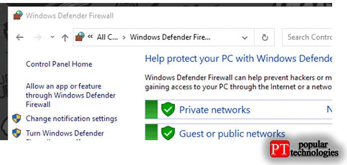 Разрешить приложение или функцию через брандмауэр Защитника Windows