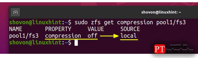 Сжатие должно быть отключено для файловой системы fs3
