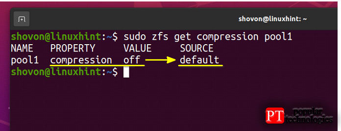 Сжатие невключено впулах ZFS поумолчанию, как выможете видеть наснимке экрана ниже