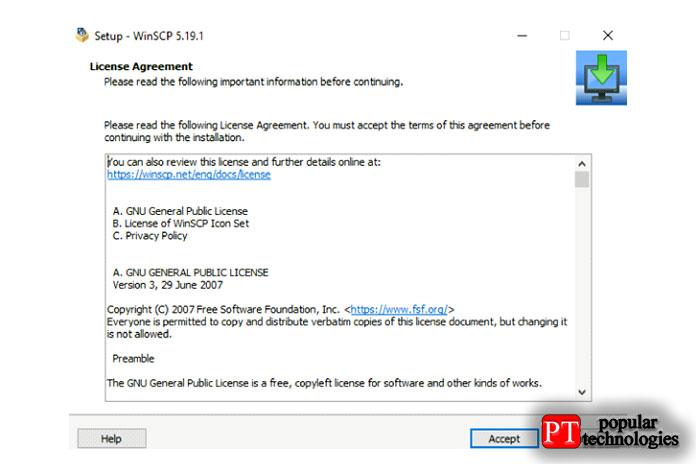 Теперь появится новое окно для установки WinSCP