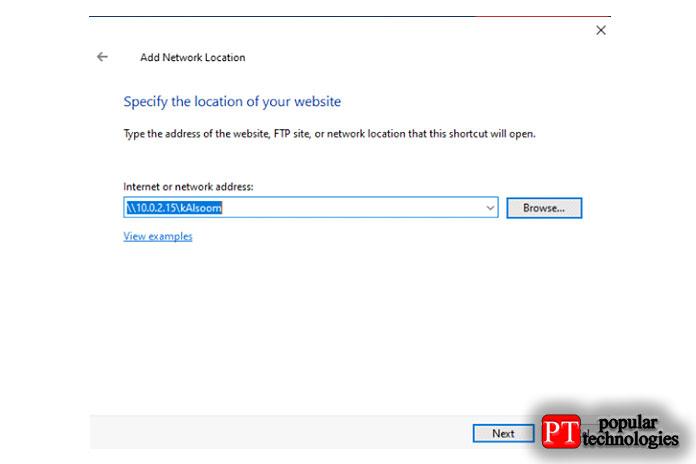 Теперь вам нужно записать IP-адрес исозданные пользователем общие ресурсы