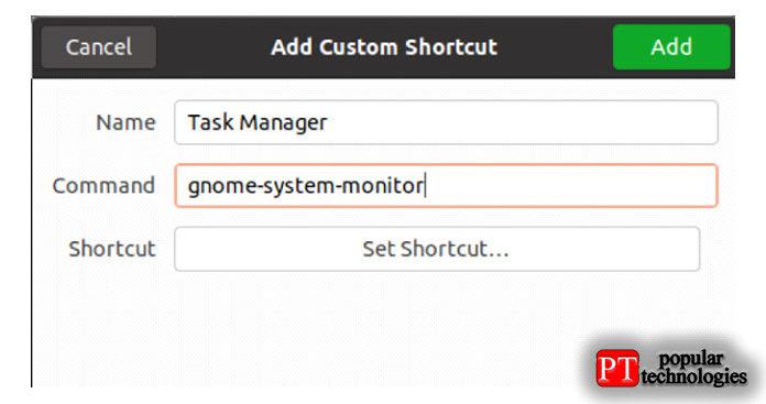 показанном на изображении ниже, введите имя для новой комбинации клавиш