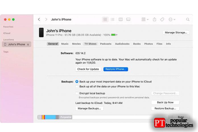 восстановить удаленные сообщения с помощью iTunes