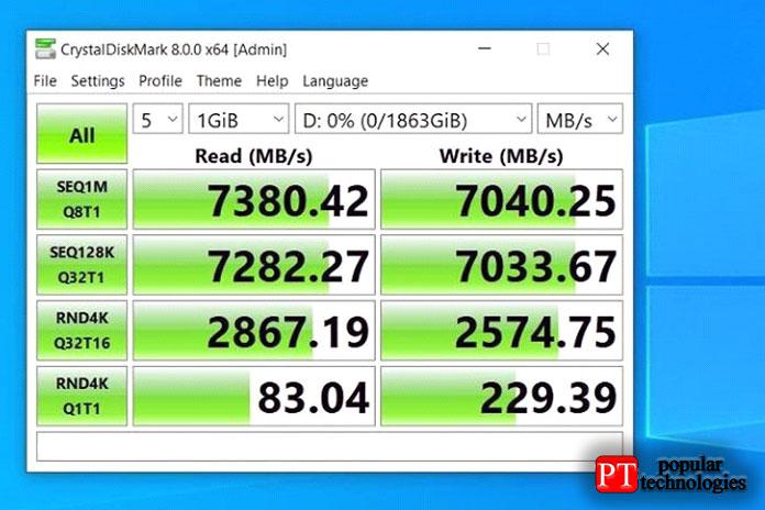 Каждый диск имеет память DDR4 для кэширования