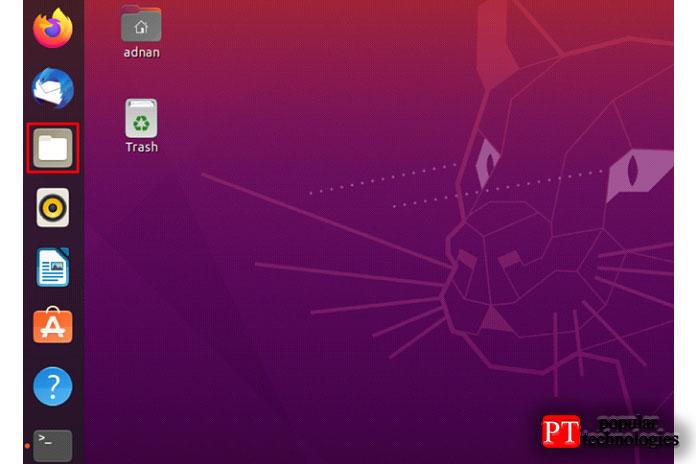Откройте файловый менеджер, доступный напанели задач Ubuntu
