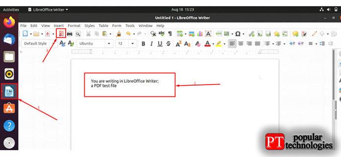 Откройте приложение для записи LibreOffice