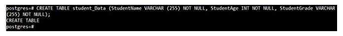 После успешного создания таблицы PostgreSQL наконсоли появится ответ