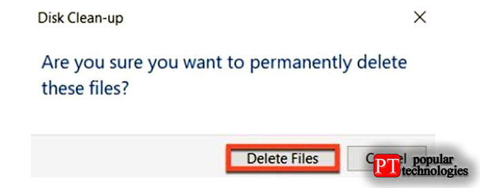 Вовсплывающем окне нажмите «Удалить файлы»