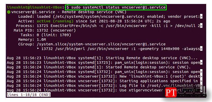 Вывод означает, что служба VNC работает всистеме Ubuntu