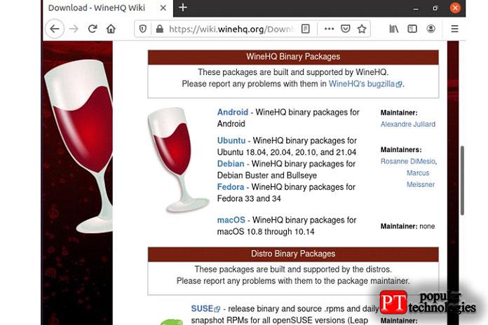 Загрузите пакет изапустите его, чтобы успешно установить Wine